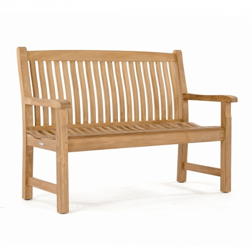Veranda Teak Wood 4 Foot Wave Bench with Arms - Co - Picture F