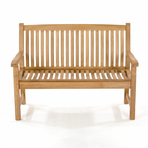 Veranda Teak Wood 4 Foot Wave Bench with Arms - Co - Picture G