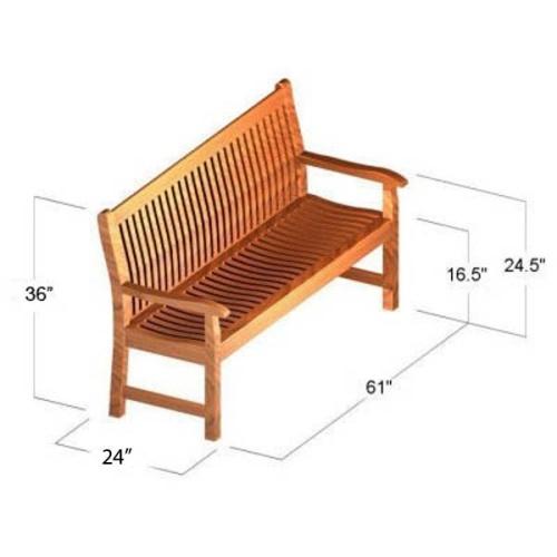 5 ft Veranda Teak Bench - Picture H