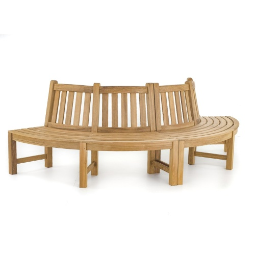 teak curved benches