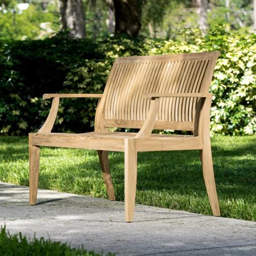 teak benches lumbar support