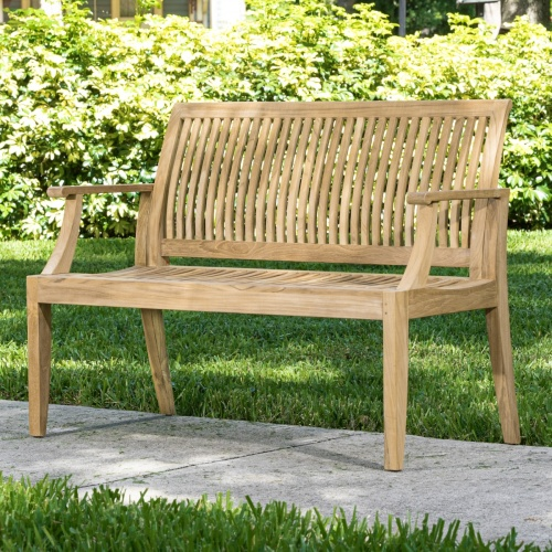 wooden outdoor teak benches