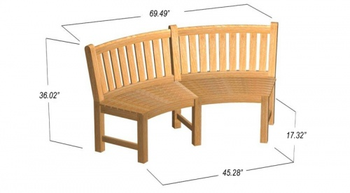 6 ft Buckingham Teak Bench Curved - Picture L