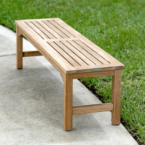 teak backless bench