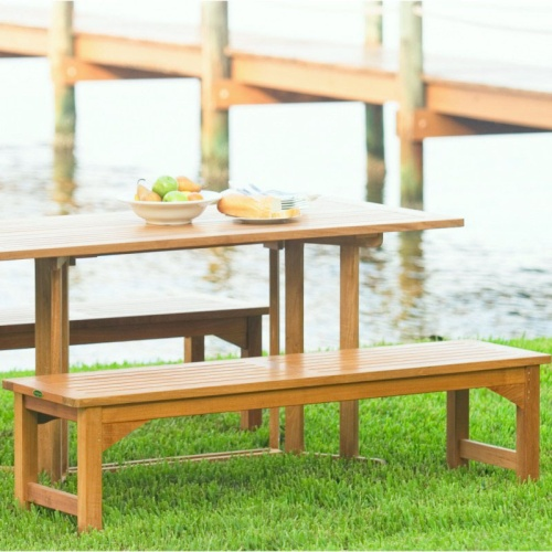 5 ft Teak Backless Bench - Picture N