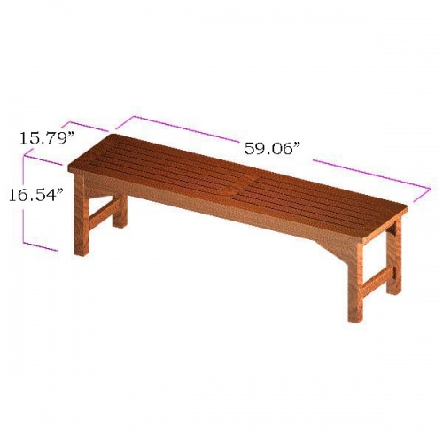 5 foot Backless Bench - Picture F