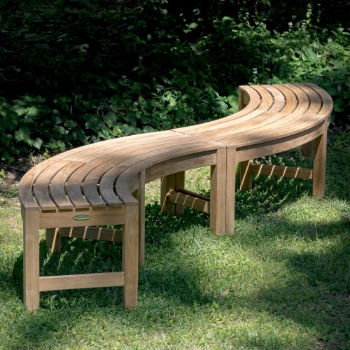 curved teak garden benches