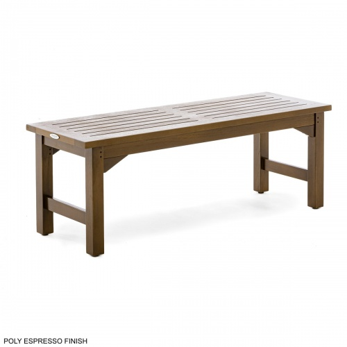 teak backless bench outdoor