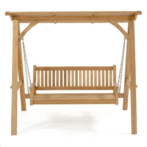 Teak Veranda Porch Swinging Bench With Canopy