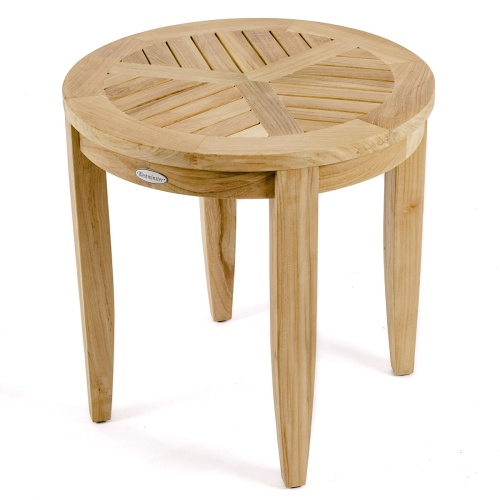 circular teak side tables
