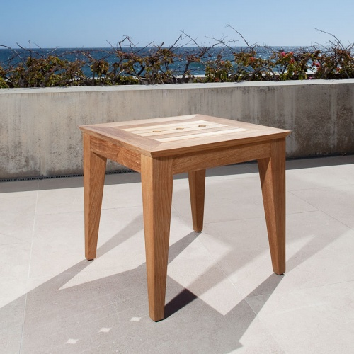 Craftsman Teak Outdoor Side Table Refurbished - Picture A
