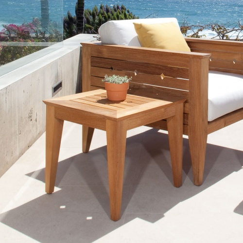 Craftsman Teak Outdoor Side Table Refurbished - Picture B