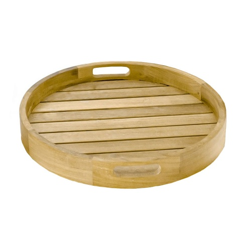 Kafelonia Round Teak Serving Tray - Picture A