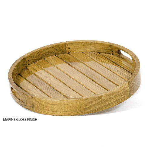 Kafelonia Round Teak Serving Tray - Picture C