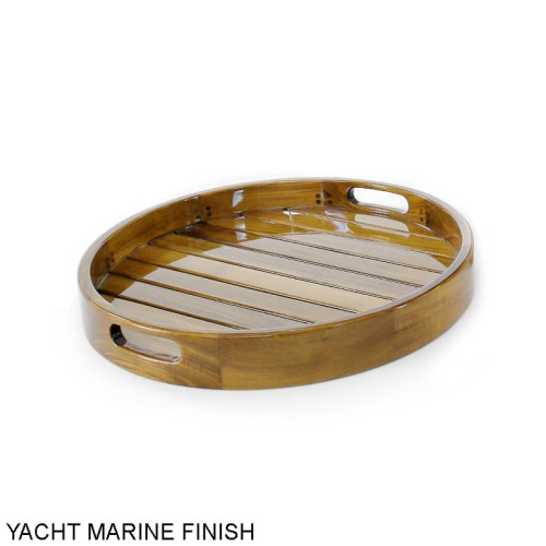 Kafelonia Round Teak Serving Tray - Picture D