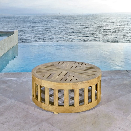 Kafelonia Round Teak Coffee Table - Picture A
