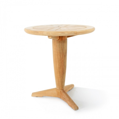 Saloma Round Teak Pedestal Side Table - Picture A