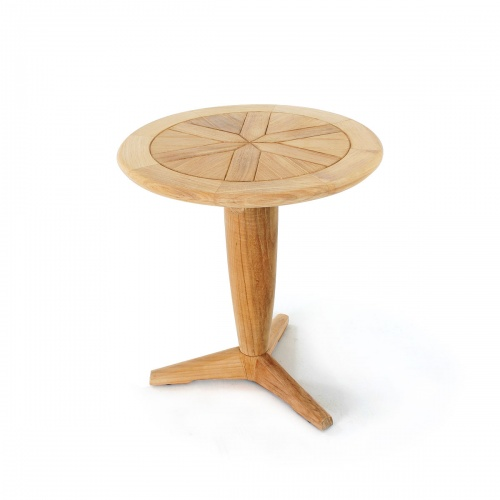 Saloma Round Teak Pedestal Side Table - Picture B