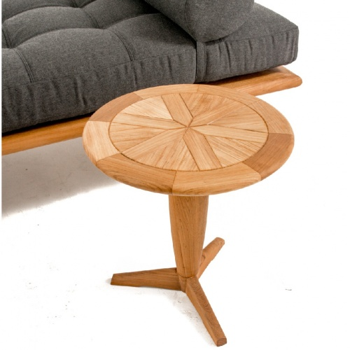Saloma Round Teak Pedestal Side Table - Picture C