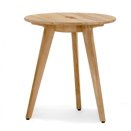 Surf Round Teak Side Table with Handle - Picture A