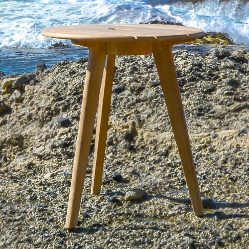 Surf Round Teak Side Table with Handle - Picture B