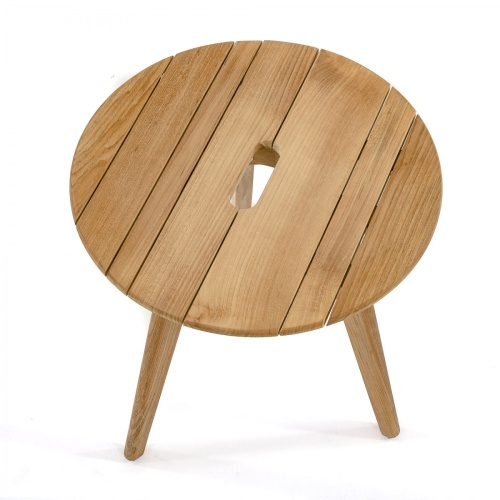 Surf Round Teak Side Table with Handle - Picture C