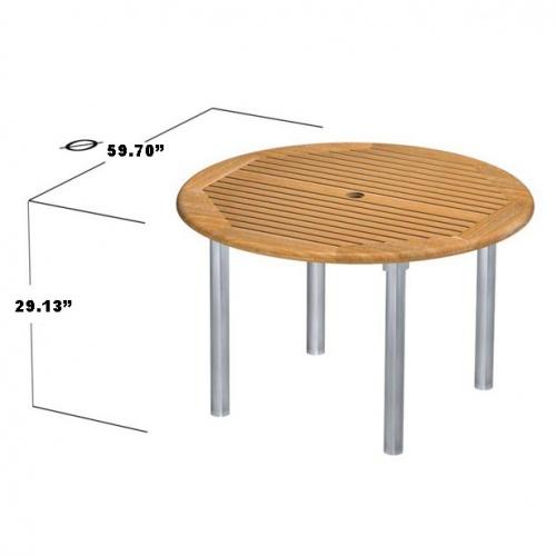 Teak Aluminum Table - Picture D