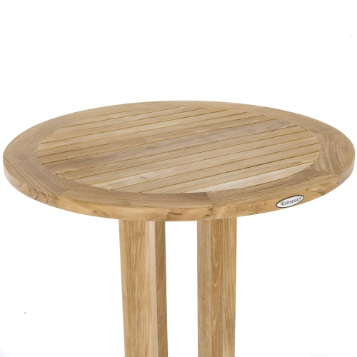teak pedestal round bar tables