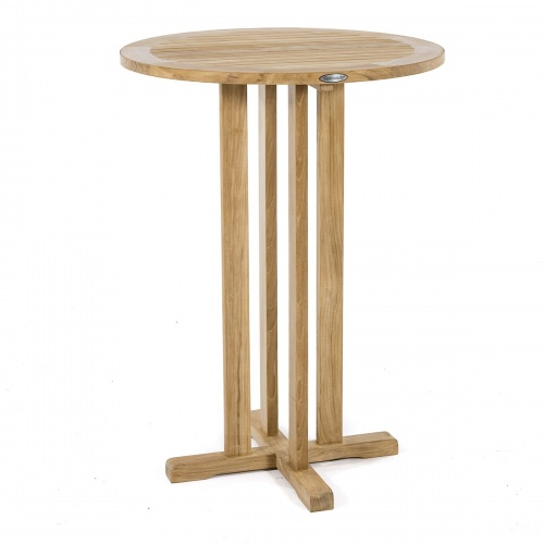 30 inch Refurbished Round Teak Bar Table - Picture B