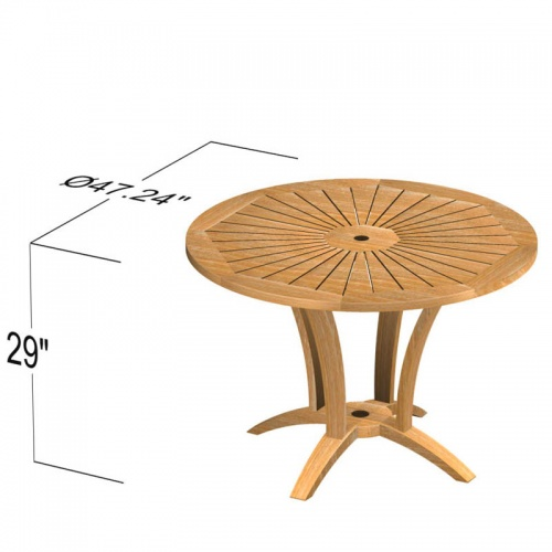 Teak Round Table - Picture F