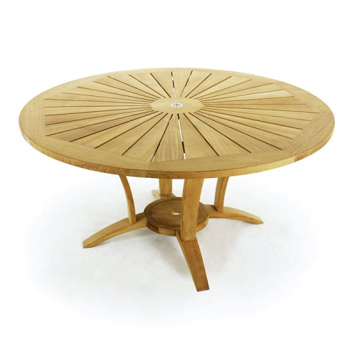5 Foot Diameter Teak Round Table - Picture D