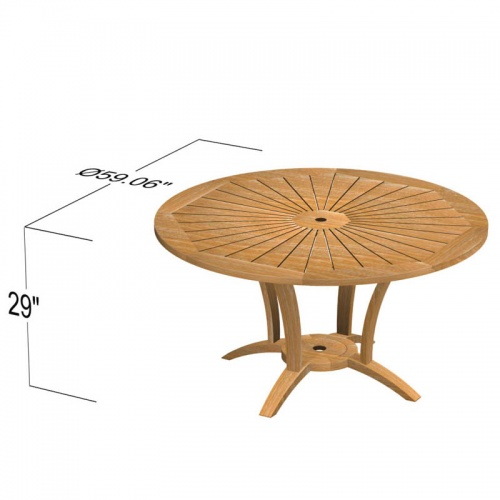 5 Foot Diameter Teak Round Table - Picture E