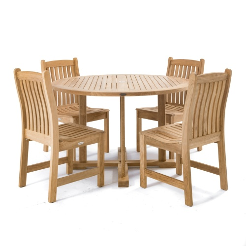 48 in teak round patio tables