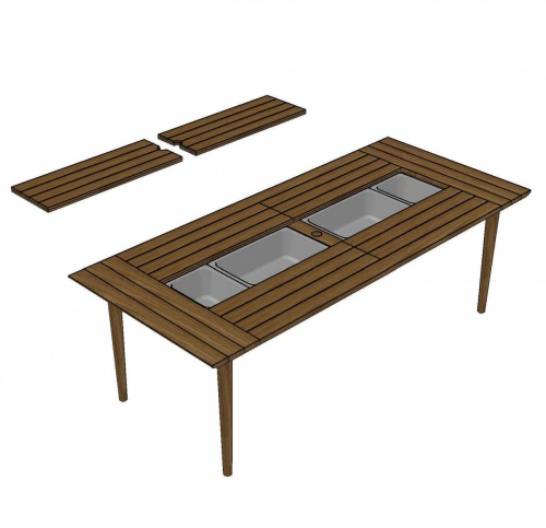 Modus Rectangular Teak Dining Table - Picture A