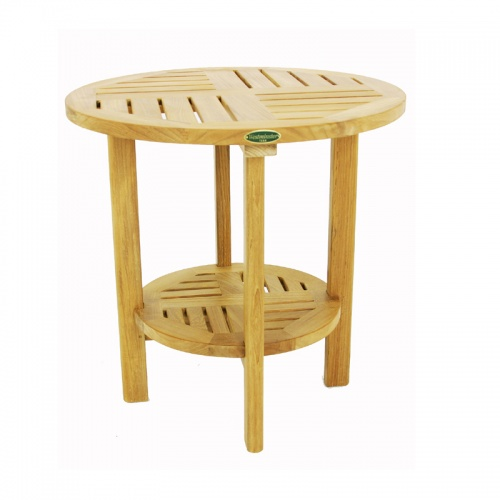 Teak Round End Side Table - Picture A