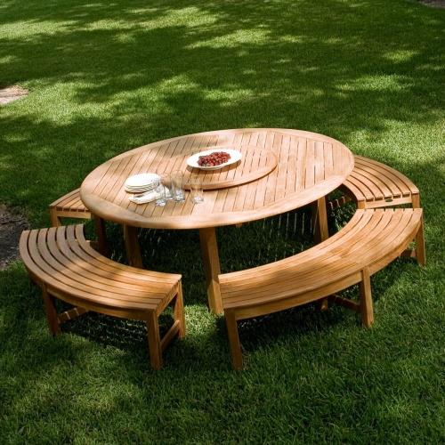large round teak dining tables