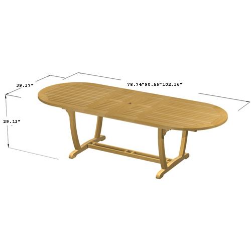 Montserrat Veranda Large Teak Extension Oval Table - Picture H