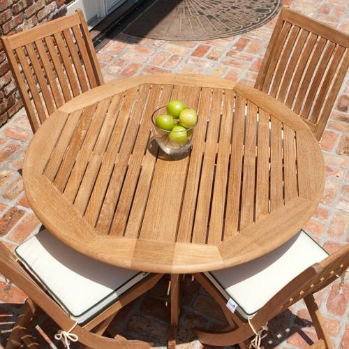 round teak folding tables