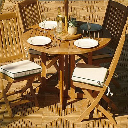 Barbuda 4ft-48in Diameter Round Teak Folding Patio - Picture C