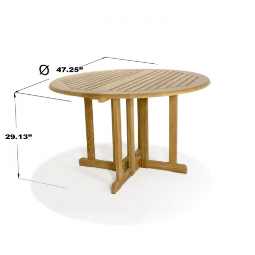 Barbuda 4ft-48in Diameter Round Teak Folding Patio - Picture G