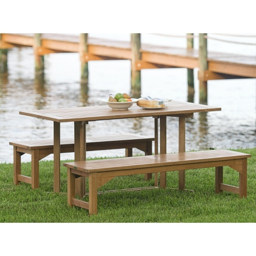 Nevis Rectangular Teak Folding Table with Stainless Steel Hardware - Picture K