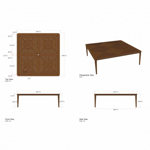 Pyramid 8 Foot Square Teak Outdoor Dining Table - Picture F