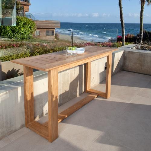 long teak console tables