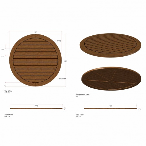 Vogue 48 in Round Teak Table Top - Picture D