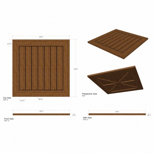 Vogue Square Teak Tabletop | 32 x 32 - Picture E