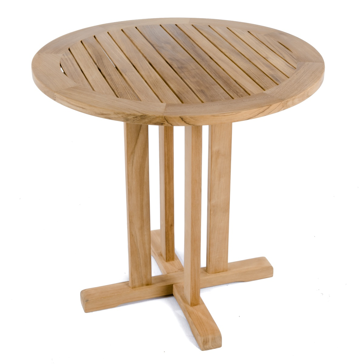 Westminster teak 30 inch round bistro table comm for Round teak outdoor table