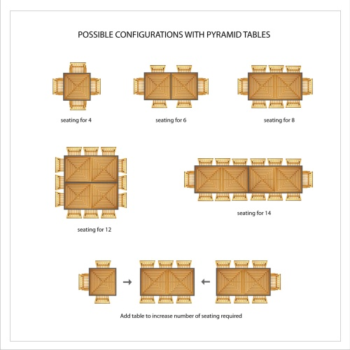 square teak bistro tables
