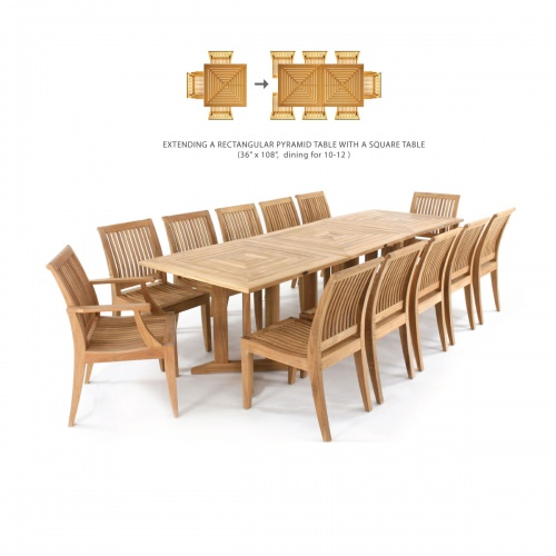 Pyramid 36in-3ft Square Teak Outdoor Dining Table - Picture D