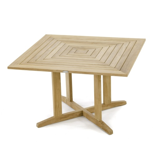 Pyramid 48in Square Teak Outdoor Dining Table - Picture E