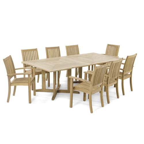 Pyramid 48in Square Teak Outdoor Dining Table - Picture F